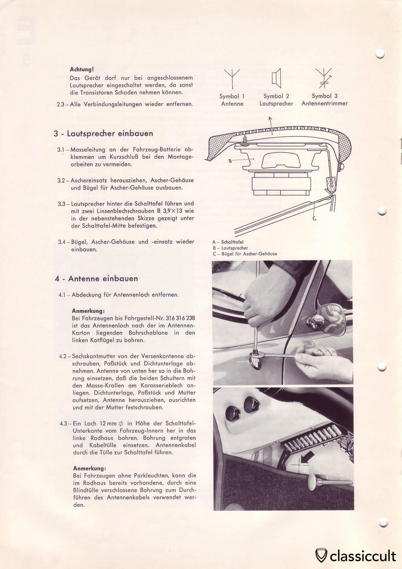 VW Type 3 Blaupunkt speaker and antenna mounting instructions.