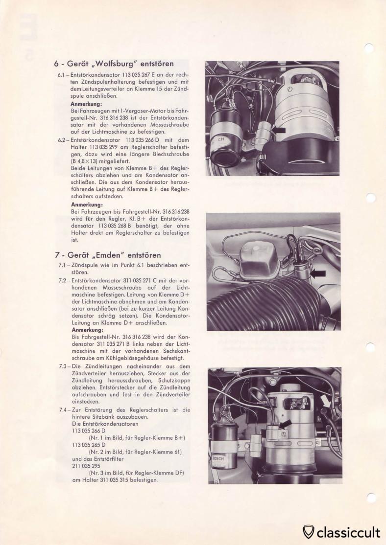 VW Type 3 Blaupunkt radio noise suppression.