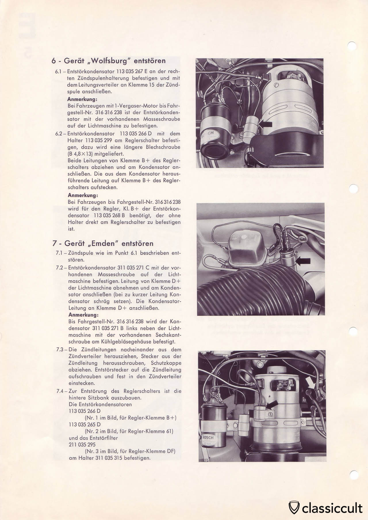 VW Type 3 Blaupunkt radio noise suppression.