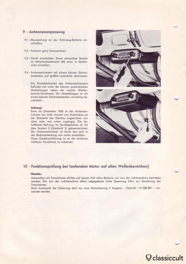 Blaupunkt radio mounting under the VW Type 3 dash.