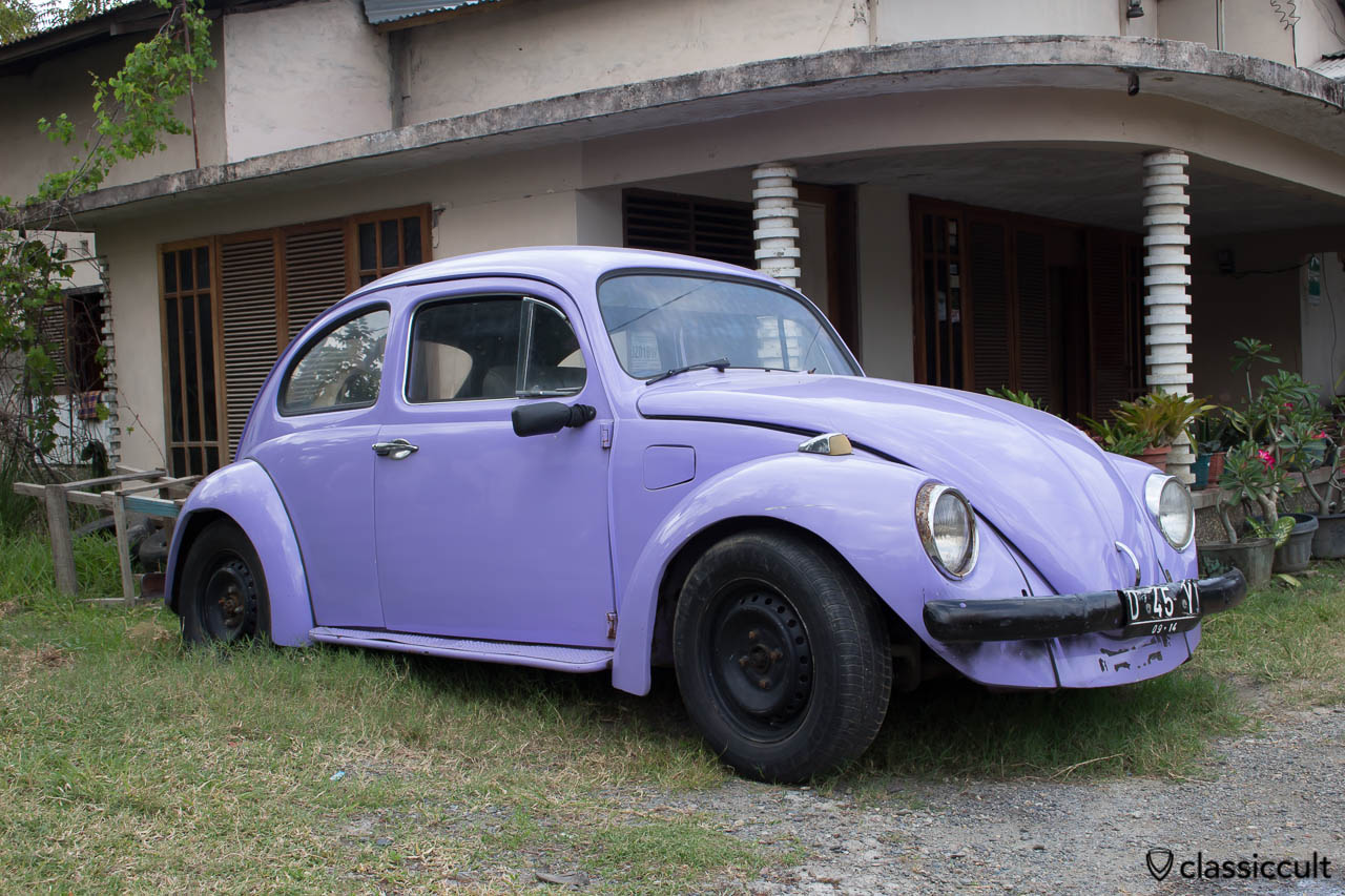 blue VW Bug front