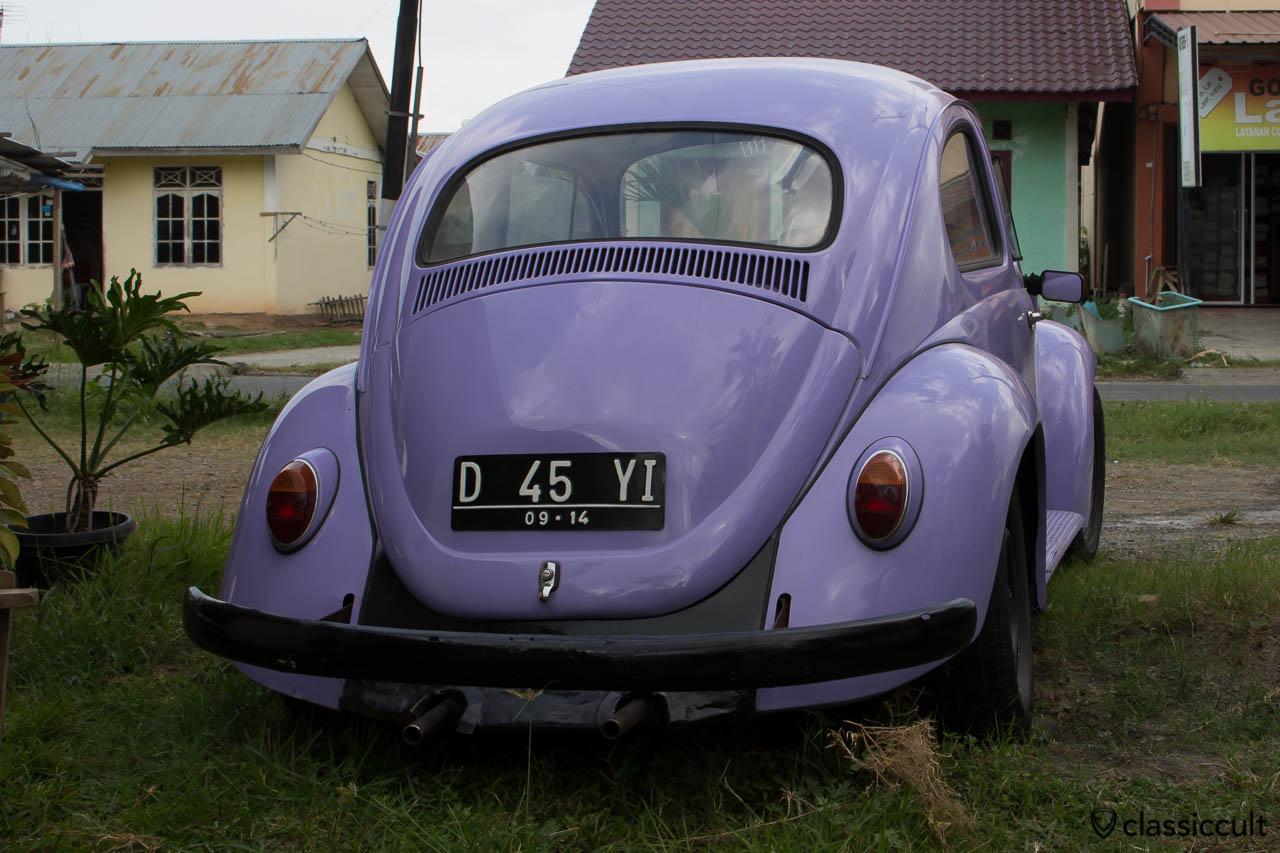 blue VW Bug rear