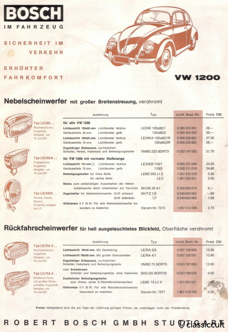 Bosch Fog Lights Brochure VW 1200 1962