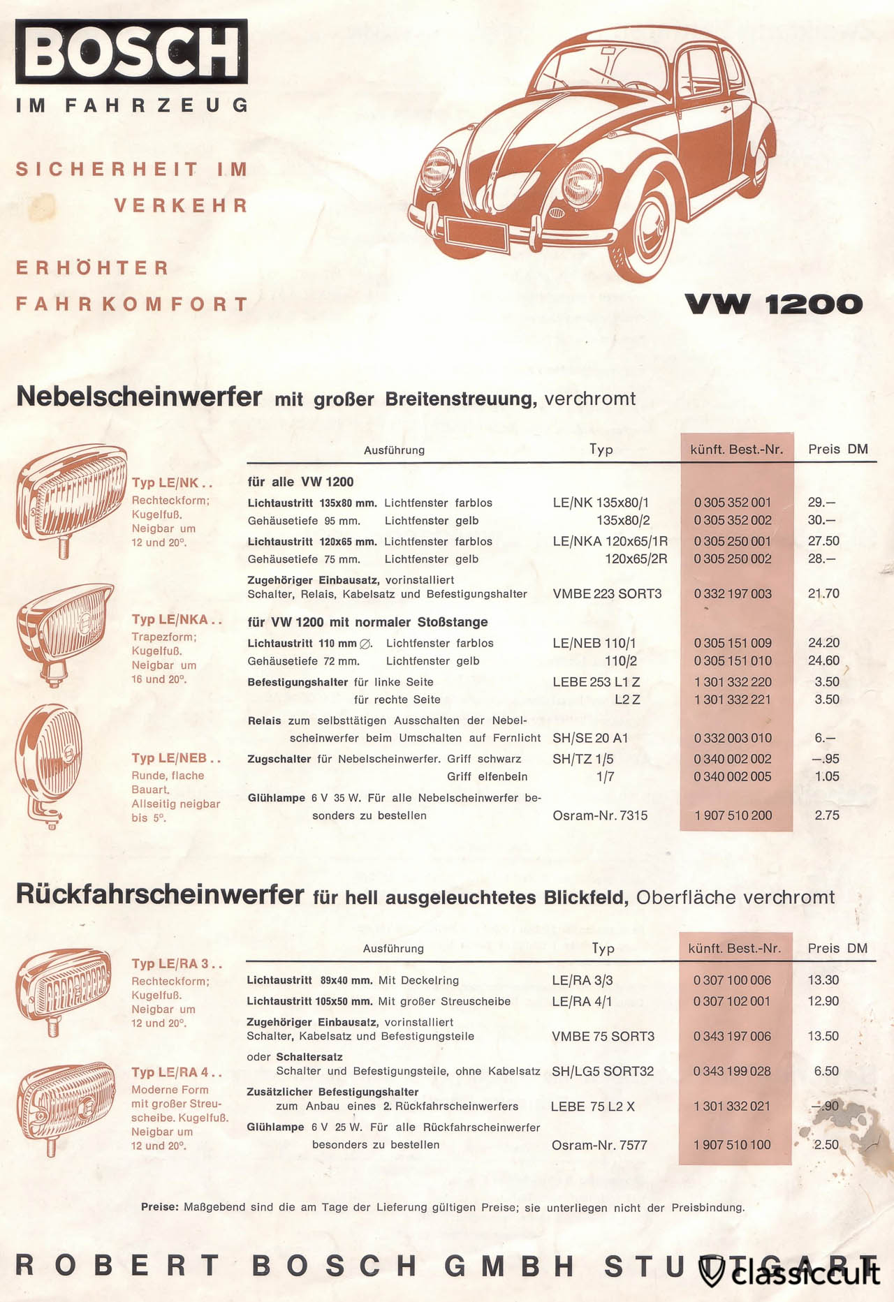 Bosch Fog Lights Brochure VW 1200 1962
