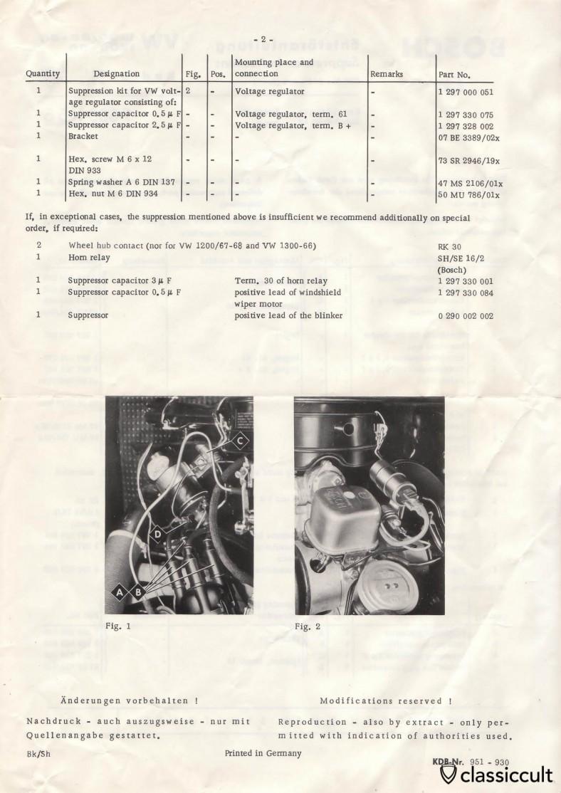 Bosch Suppression Instructions VW Bug 1200 1300 1966-1968 Radio with FM
