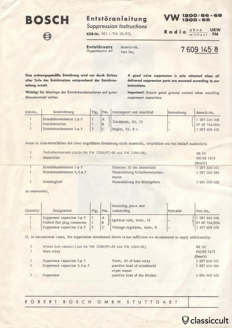Bosch Suppression Instructions VW Bug 1200 1300 1966-1968 Radio without FM
