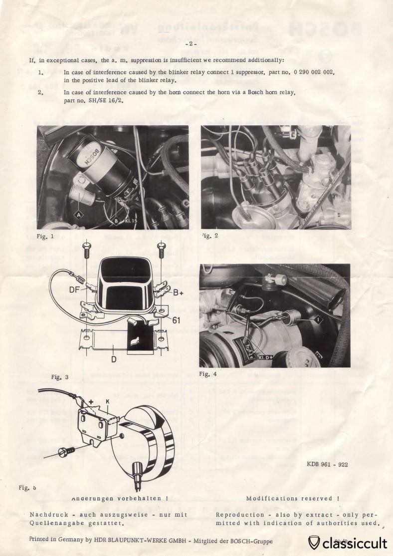 Bosch Suppression Instructions VW Bug 1300 1500 Radio with FM