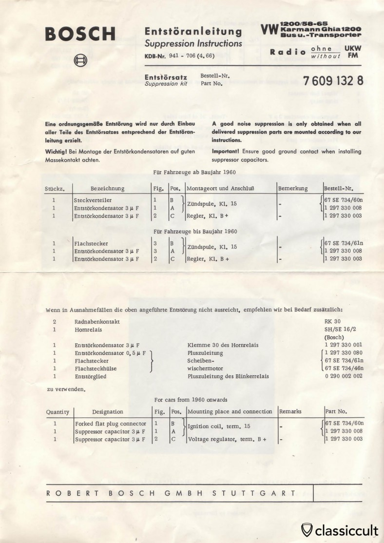 Bosch Suppression Instructions VW Bug 1958-1965, Karmann Ghia, Bus, Transporter Radio without FM