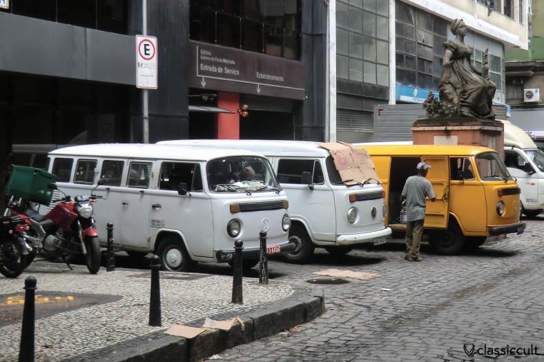 Brazilian VW Buses line up, Centro, Rio de Janeiro, Brazil, May 23, 2013