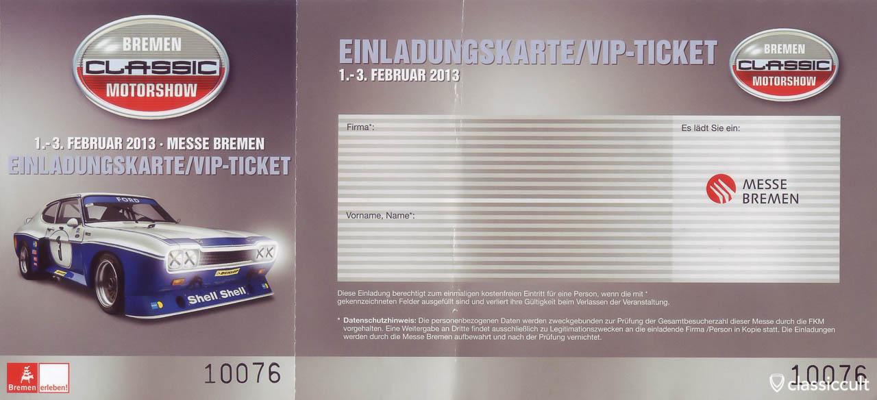 Bremen Classic Motorshow Ticket 2013