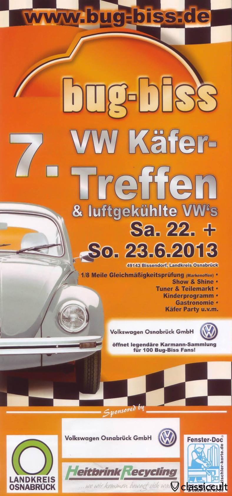 Bug Biss VW Treffen 2013 am 22.06.2013 - 23.06.2013 Flyer