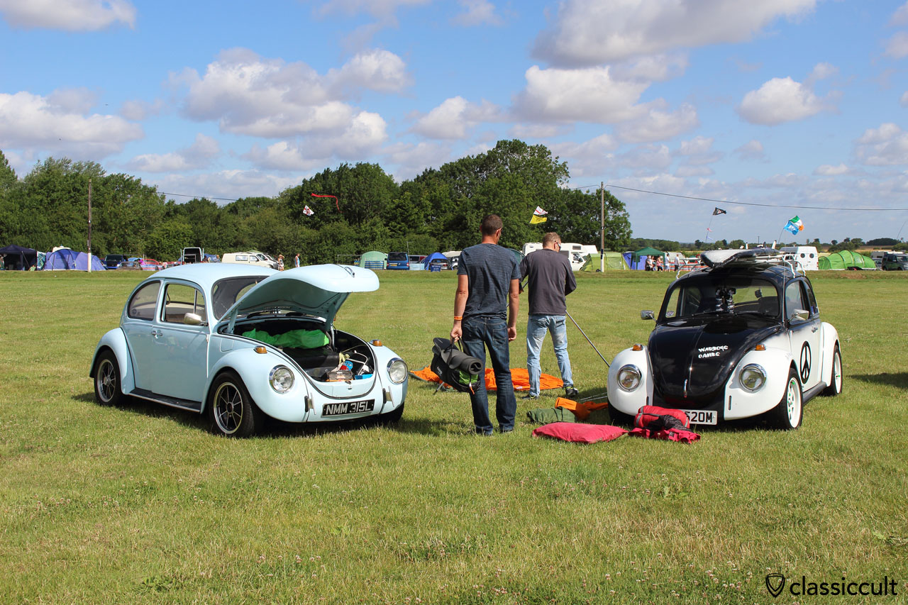 VW Fans from the UK, just arrived at Bug Jam VW Festival 2015, Saturday 18th July, 10:11 a.m.