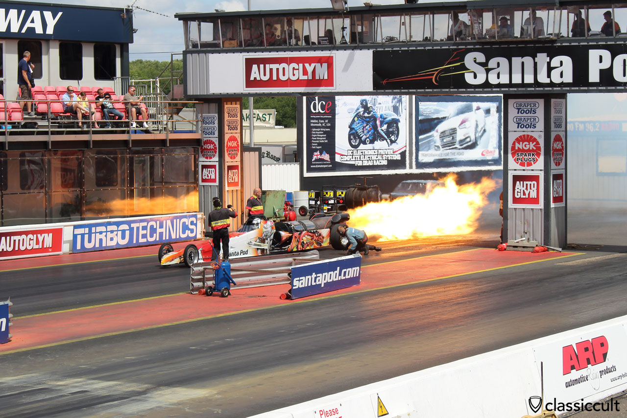 Jet Car Fire, Santa Pod Raceway, on time at 12:25 p.m.