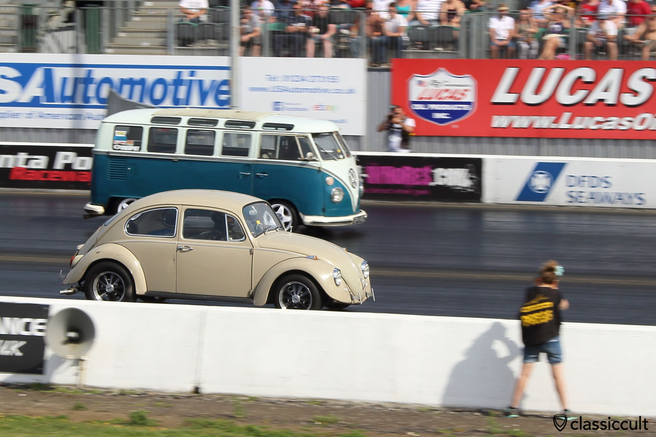 VW Beetle and T1 Bus Drag Racing