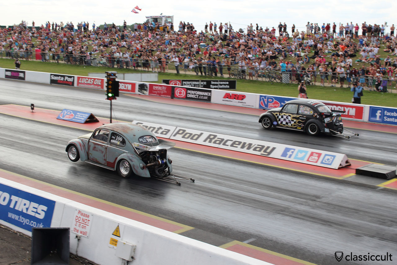 VW Oval Beetle in the air, Santa Pod Raceway