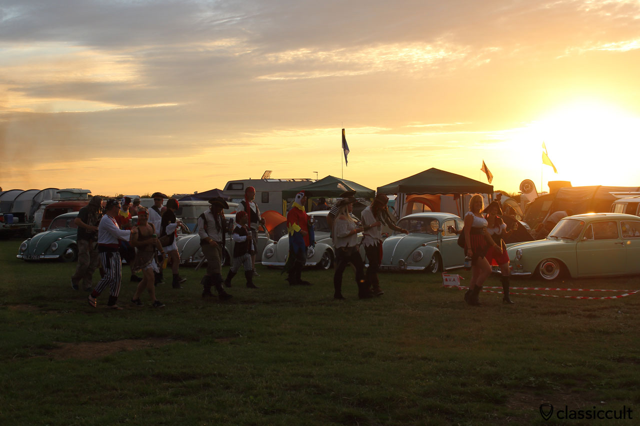 VW Fans dressed as pirates at sunset, 8:39 p.m., Bug Jam Festival 2015