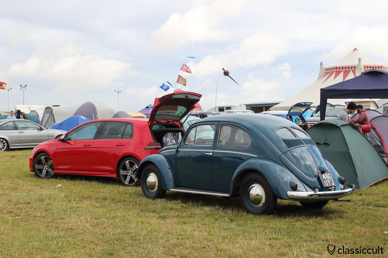 VW zwitter (Oval Beetle with split rear window) and new Golf