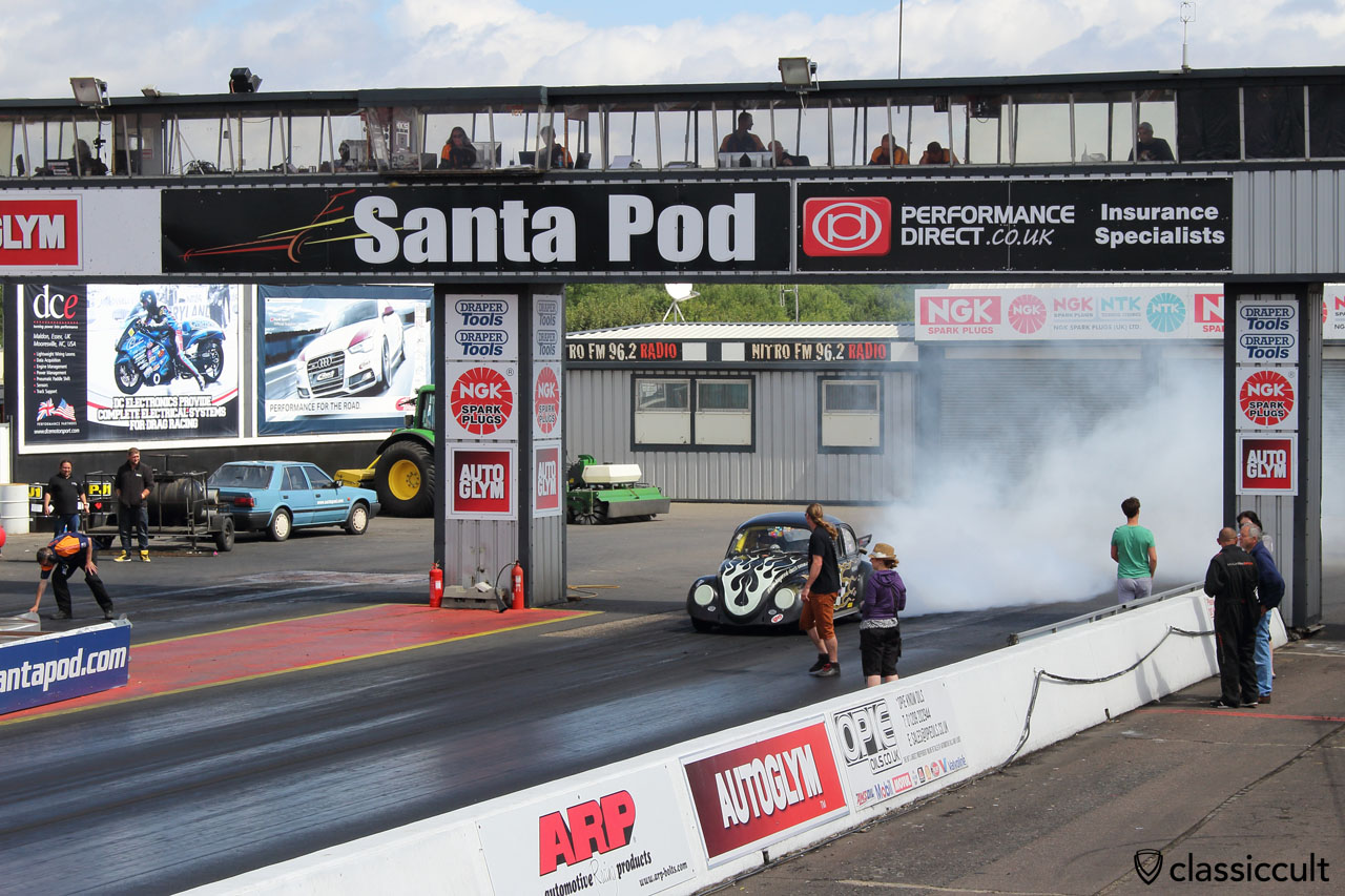 VW Beetle burn out, Santa Pod Raceway