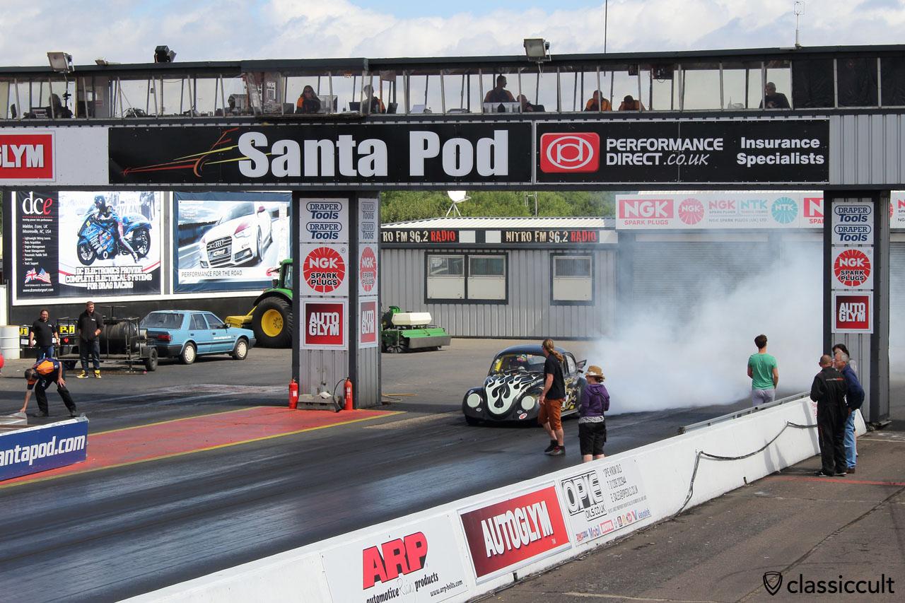 VW Beetle burn out, Santa Pod Raceway