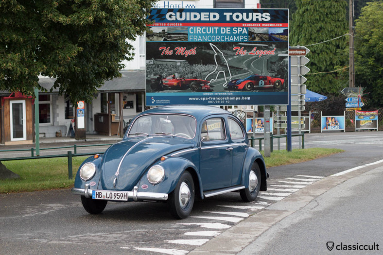 My 1959 Beetle at VW Bug Show Spa Francorchamps at 07:19 a.m. August 3, 2013.