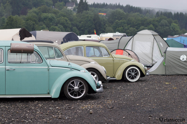 VW Beetle with Swamp Cooler camping at the Bug Show 2013.
