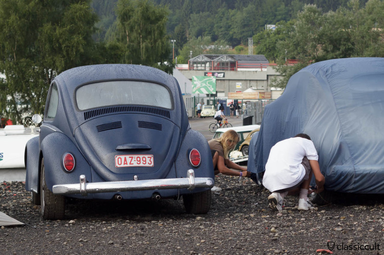 VW Oval Bug under car cover Spa Francorchamps 2013