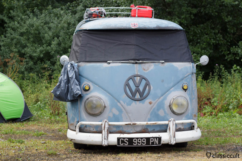 VW T1 Bus with window cover on the outside of the windshield