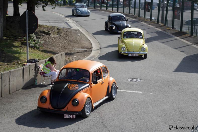 VW Beetles on the way to Circuit de Spa Bug Show 2013