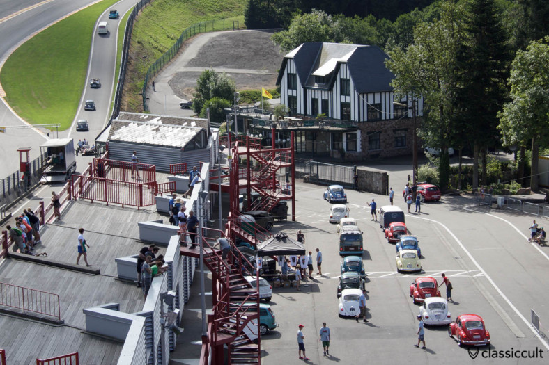 SPA grandstand and classic VWs on the race track Bug Show 2013