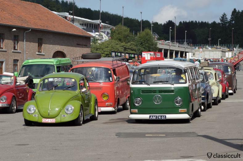 VW Bus and Bug on the way to Circuit de Spa 2013.