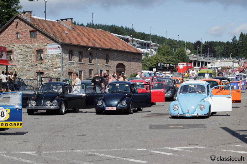 VW Beetles with open doors because of the heat at SPA 2013.