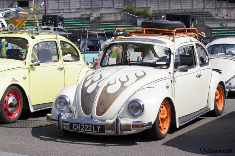 VW Bug slammed with roof rack and fog light