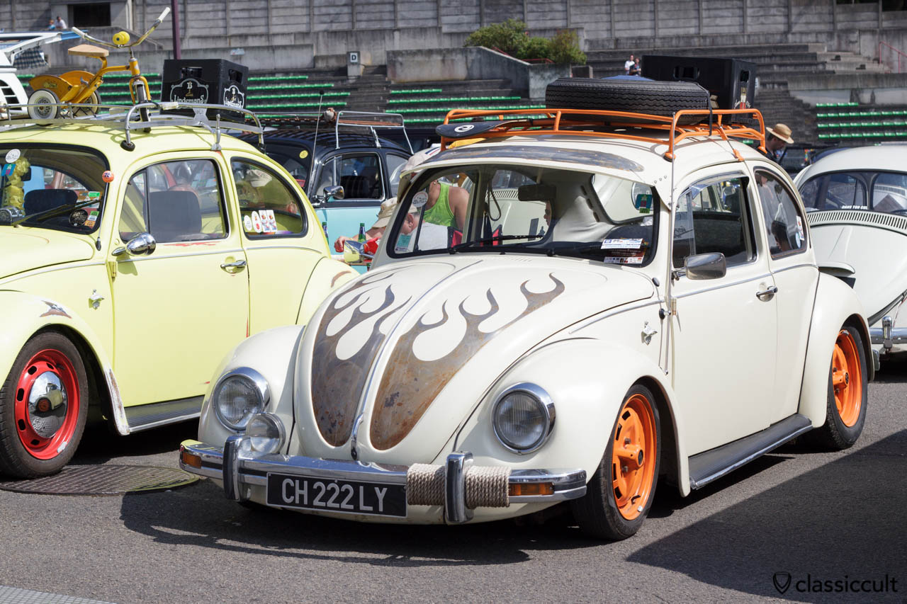 VW Bug slammed with roof rack and fog light