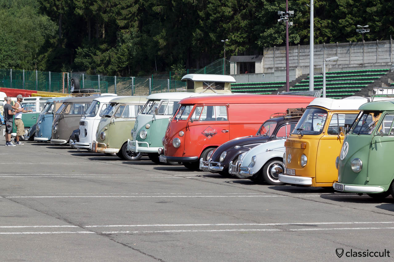 Classic VW Bus and Beetle line up VW Bug Show Spa 2013