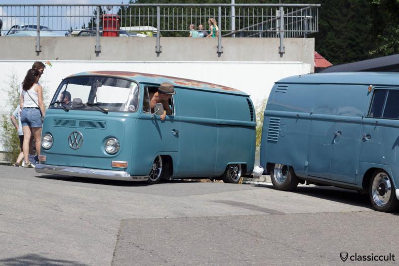 Slammed T2 Panel Van parking at VW Bug Show Spa 2013.