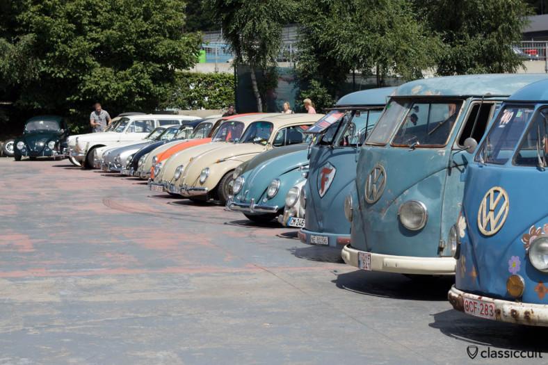Split Screen Bus and Beetle line VW Bug Show Spa 2013