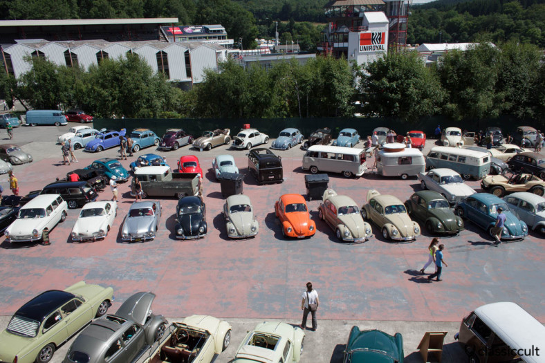 Beetles view from above VW Bug Show SPA 2013