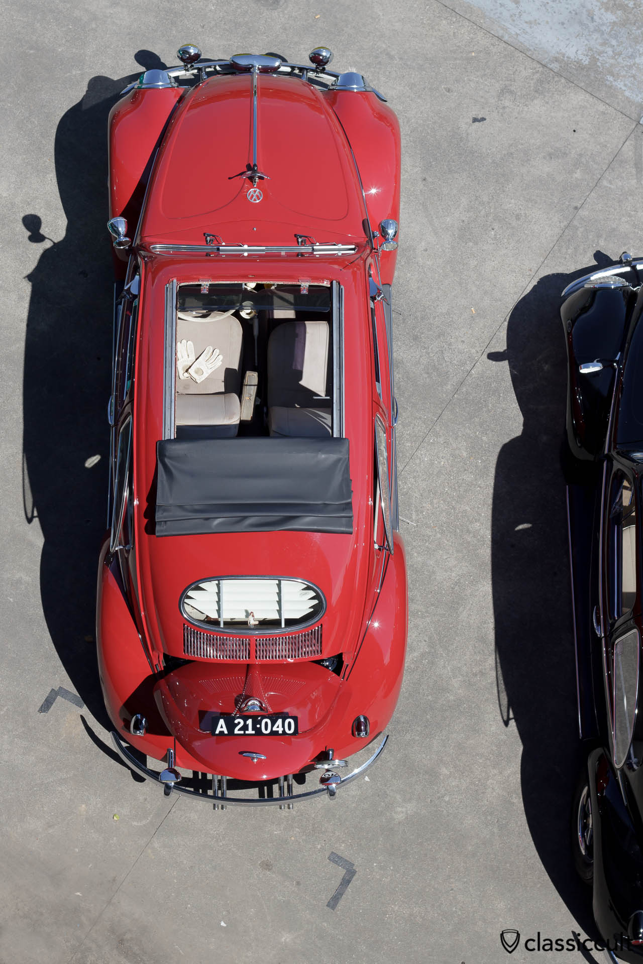 VW Oval Ragtop view from above