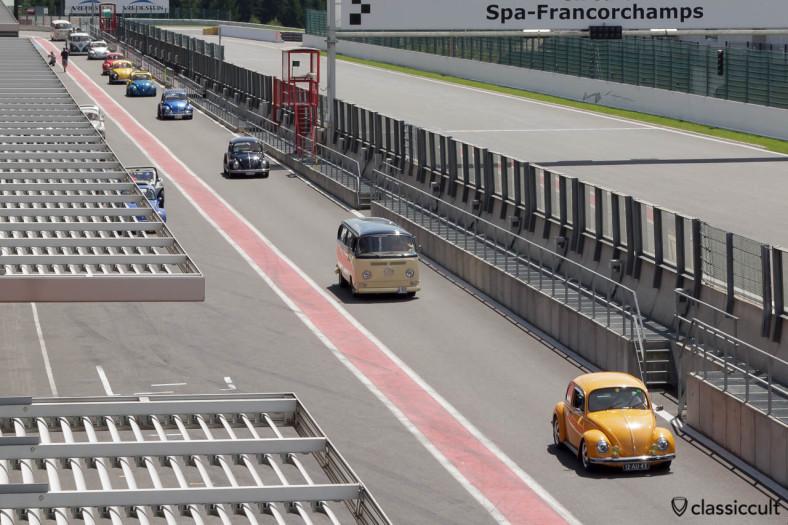 Marlies 1973 VW Beetle with Fuchs wheels racing around the Circuit de Spa.
