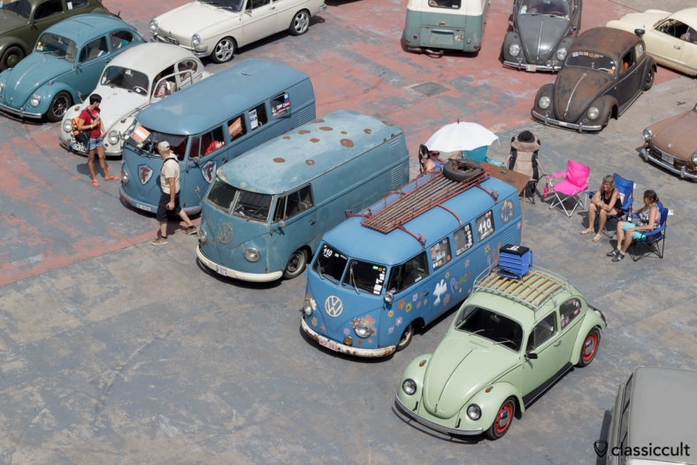 T1 Split Buses view from above VW Bug Show Spa Francorchamps 2013