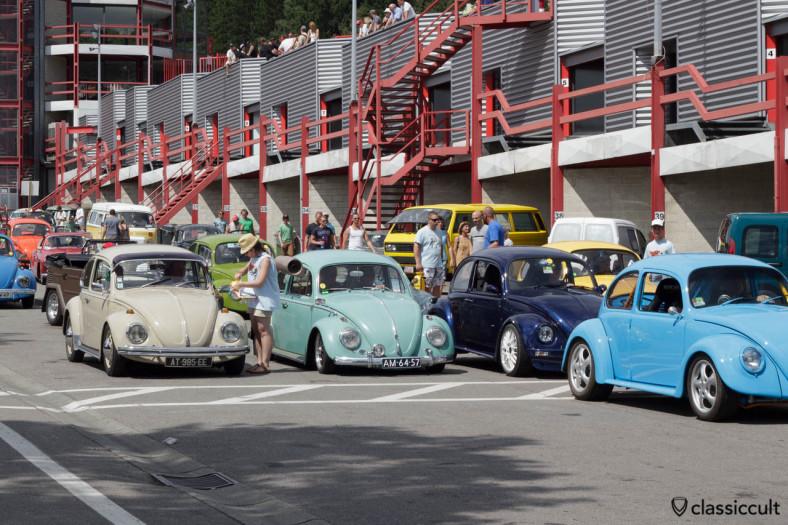 VW Beetles getting prepared for the Circuit de Spa 2013