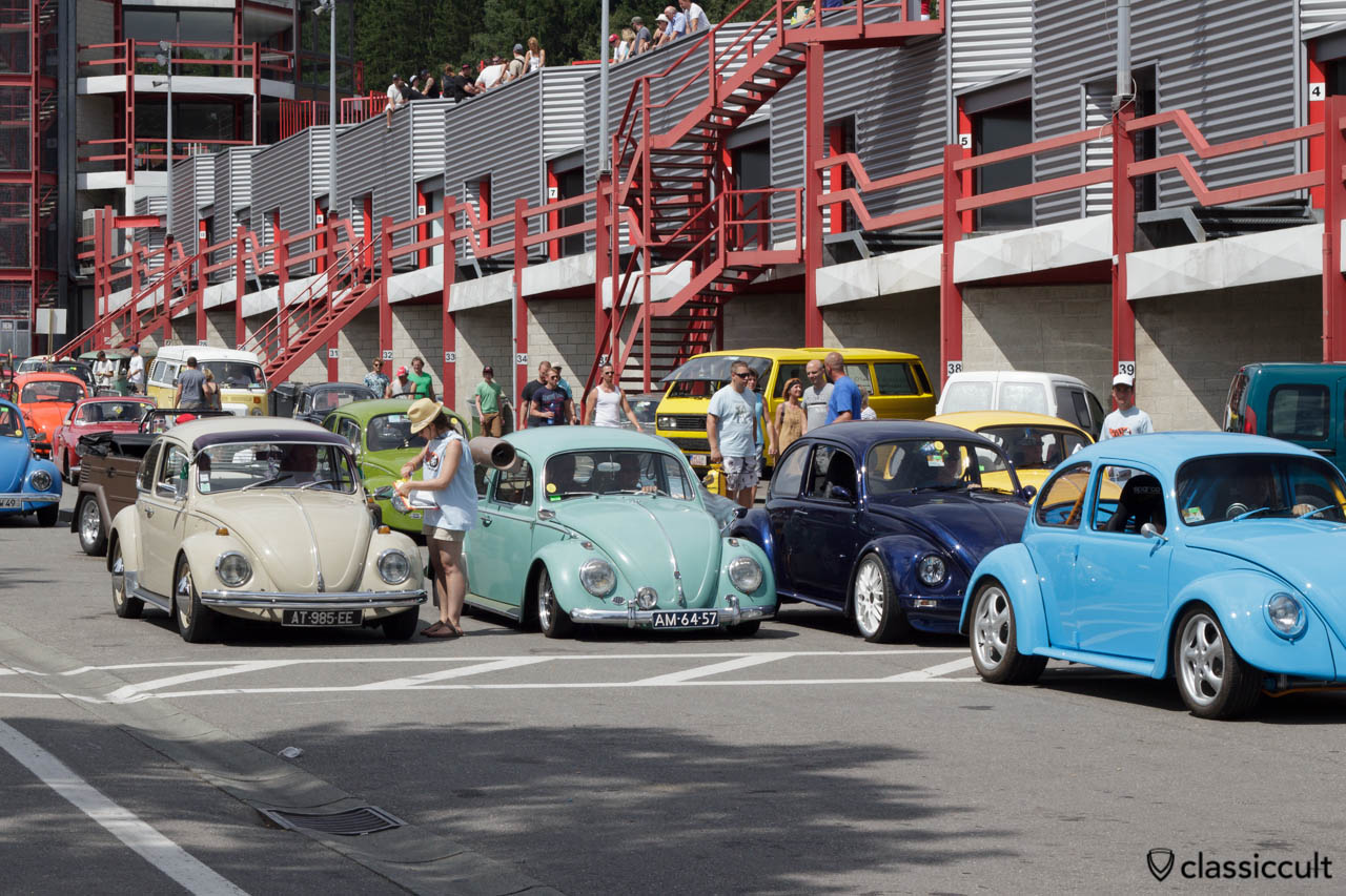 VW Beetles getting prepared for the Circuit de Spa 2013