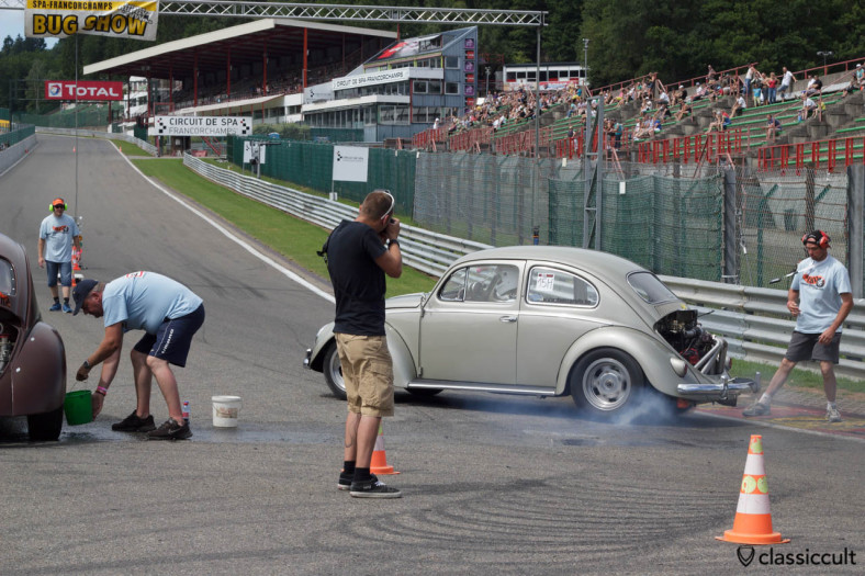 VW Beetle doing a burnout with clouds of smoke at VW Bug Show Spa 2013.