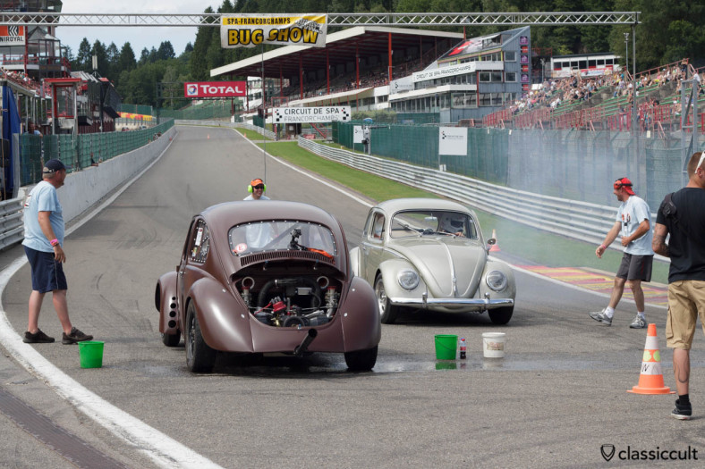 VW Race Beetle after burnout, clouds of smoke and lots of fun.