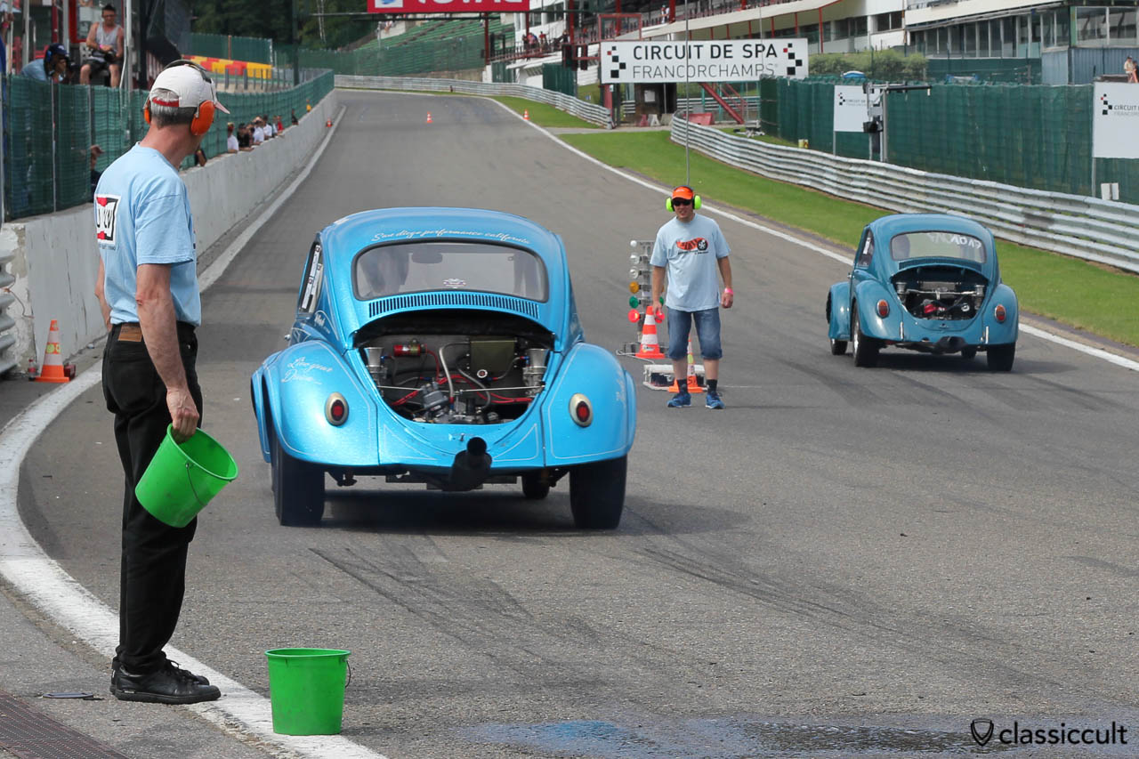VW Drag Race Beetle Four Play on the way to the race start line at SPA 2013.