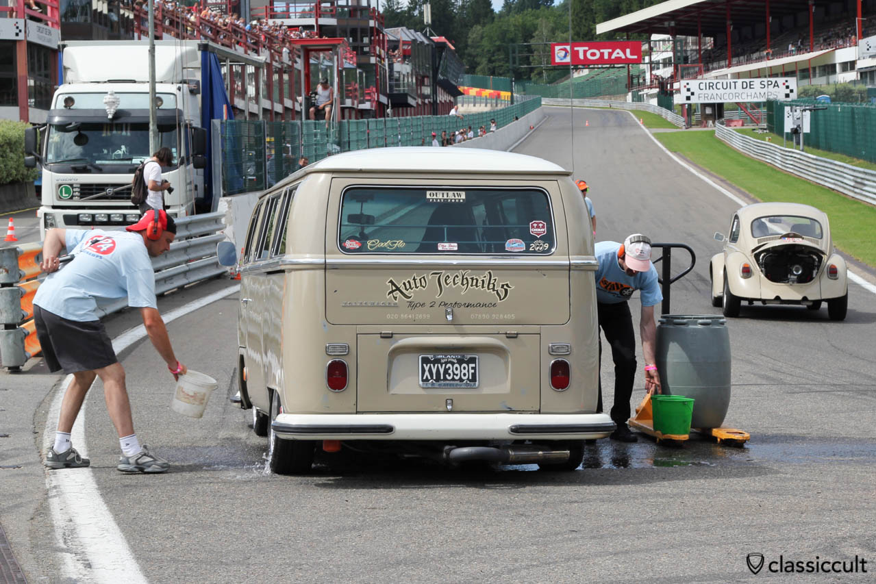 Autotechnics VW Race Bus getting water on the tires for drag racing.