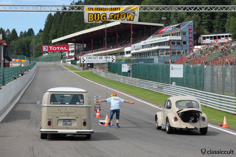 Race Beetle and Race Bus at the drag racing starting line at VW Bug Show 2013.