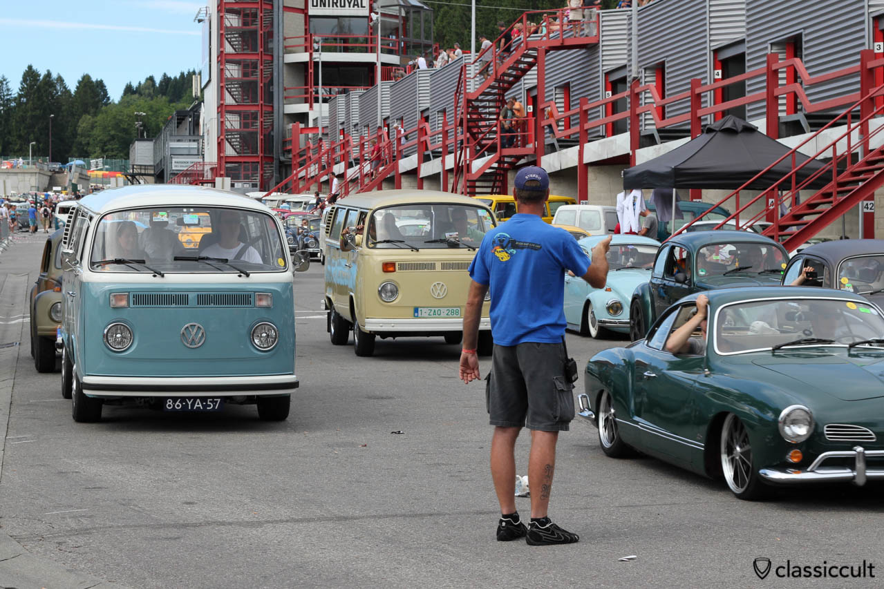 Karmann Ghia and Bus waiting for SPA Circuit tour.