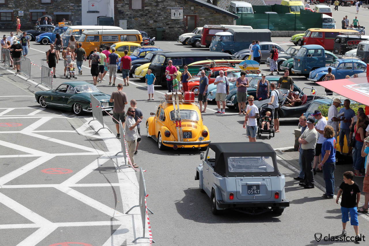 Karmann Ghia, Beetle and 181 on the way to Circuit de 2013 Spa.