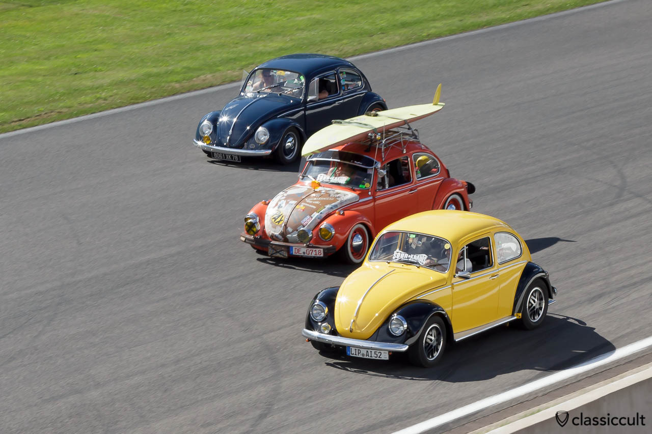 Three VW Beetles cruising on Circuit de Spa 2013.